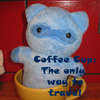 fuzziekit: A plushie made for me by a couple of wonderful friends. (Coffee Travel)