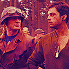 apollymi: Captain America and Bucky staring at each other, no text (Aveng**Steve/Bucky: Watching)