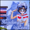 "trouble: Ami from the manga for Sailor Moon, reading a book.  ""Reading is love"" (reading is love)"