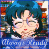 "trouble: Ami from Sailor Moon Manga with text ""Always Ready!"" (always ready!)"