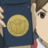 gramarye1971: Kasahara Iku holding Library Force badge (Toshokan Sensou: Insignia)