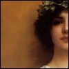 yasaman: painting of woman with pale skin and dark hair wearing a crown of laurels  (lady looking)