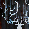 malum_in_se: Painting of a white stag, with antlers stretching up against a black canvas. (Forms)