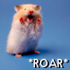 pensnest: very small animal on its hind legs, caption Roar! (I am Hamster hear me Roar)