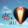 pensnest: hot air ballon with bow tie, caption de bon air (Balloon)