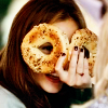 shopfront: Source: Leighton Meester, holding two bagels in front of her eyes like glasses. (RP [LM] - I like bagels for breakfast)