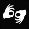"wheelieterp: The international symbol for ASL interpreter showing two hands making the sign for ""interpret"" (Interpreting)"