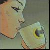 renshai: Cassandra Cain (Batgirl) sips tea from a Batman mug (Default)