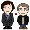 happydapy: cute drawing of Sherlock holmes and John Watson with a heart between them.  Its the BBC 2010 version (john sherlock heart)