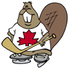 piranha: cartoon beaver with canada leaf jersey and hockey stick (i am canehdian)