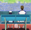 piranha: short ryoma and tall tezuka sitting on bench, seen from behind (no talking needed)