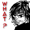 """piranha: scruffy character with sunglasses and cig says """"WHAT?"""" (what? sez chris)"""