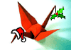 piranha: origami crane with santa hat and holly on tail (xmas)