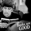 "juniperphoenix: B&W photo of Ringo Starr reading a book with text: ""Books are good"" (A bloomin' book!)"