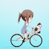 laceblade: chibi version of Wakana from Tari Tari riding a bike, cat in front basket (Tari Tari: bike)