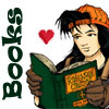chomiji: A young girl, wearing a backward baseball cap, enjoys a classic book (Books - sk8r grrl)