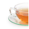 sage: image of clear glass teacup on clear glass saucer against white background. Cup is half filled with amber colored tea. (food: make tea)