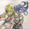 chomiji: Yuya and Mahiro hugging each other and laughing - from Samurai Deeper Kyo (Yuya & Mahiro - friendship)