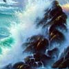 ilyena_sylph: image of waves crashing on high rocks, from art by Jim Warren (Art: crashing surf)