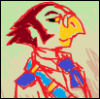 phrenotobe: a red-uniformed bird with a blue sash. (burd)