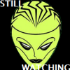 "anthimeria: A scary angular outline of a face, the words ""Still Watching"" (Oracle: Still Watching)"