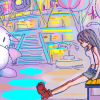 laceblade: fanart of Tifa sitting outside of Gold Saucer looking forlorn. Cait Sith tilting head & looking at her in b/g (ff7: Tifa @ Gold Saucer)