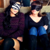 laceblade: Lea Michele & Naya Rivera wearing eye masks, arms folded, on set in their characters' apartment's couch (Glee: riverchele couch)