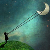 dreams_in_color: picture of little girl holding onto a crescent moon by a string (Default)