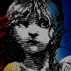 les_miserables: Cosette with a tricolor background, ie the musical logo (logo)