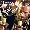 "genarti: Valjean holding the Bishop's candlesticks, looking mulish and bewildered, with text ""I have bought your soul for God."" ([les mis] the wages of sin)"