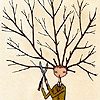 cadenzamuse: A vaguely masculine person pruning the thicket of branches growing out of the top of his head. (prune my brain)