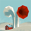 agonistes: a house in the shadow of two silos shaped like gramophone bells (Default)
