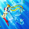 novapsyche: Sailor Moon rising into bright beams (antiquekeyboard)