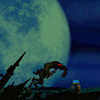 slig: A Slig from the Oddworld game, the moon behind it, a landmine in front of it (Default)