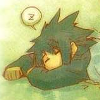 darkicedragon: Sleepy Jim from Hand x Red lying on the ground, his head nestled over his crossed arms, a small 'z' above him (Sleepy)