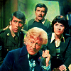 mad_jaks: 3rd Doctor, Sgt Benton, the Brig, Sarah Jane (03/Team)