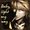 chomiji: Sanzo lighting a cigarette, with the caption Baby light my way (sanzo - light)