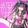 "mikogalatea: Ibuki from Dangan Ronpa 2, casually pointing to one side with both index fingers. Icon text: ""Haters to the left"" (Ibuki; haters to the left)"