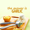 """justabakersdozen: """"The answer is garlic"""" over a cutting board with a garlic press (garlic)"""