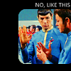 valentinite: Spock showing McCoy how to do the vulcan salute (vulcan salute)