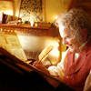 anaraine: Older!Bilbo at his desk writing with a quill. ([tolkien] a quill scratching)