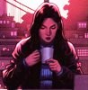 maat_seshat: Jessica Drew/Spider-woman drinking coffee, New York in the dawn light behind her (Jessica Drew)