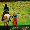 "frayadjacent: Xena and Gab walking/riding away together, text says ""Journeys"" (Xena: Journey)"