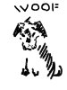afuna: sketch of a happy dog sitting. Text: Woof (woof, curious, dog)