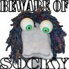 "tsukinofaerii: a sockpuppet with the text ""beware of socky"" (beware of socky)"