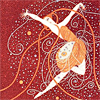 ext_81122: Whimsical art deco drawing of an androgynous dancing woman.  (erte woman)