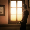 aquila_black: Ritsu Minami next to a tall window; dusk illuminates his long, dark form and two of the butterflies pinned on his wall. (Ritsu: Window)