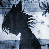 aquila_black: Seimei in profile, dark against a grey-blue background with small leaf patterns; cat ears facing back, wind in his hair. (Seimei: Silhouette)