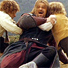 thingswithwings: boromir being tickled by hobbits (lotr - boromir being hugged and tickled)