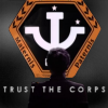 medie: Someone standing before the Psi Corps logo with the text 'trust the corps' (b5 - psi corps - mother father and terri)